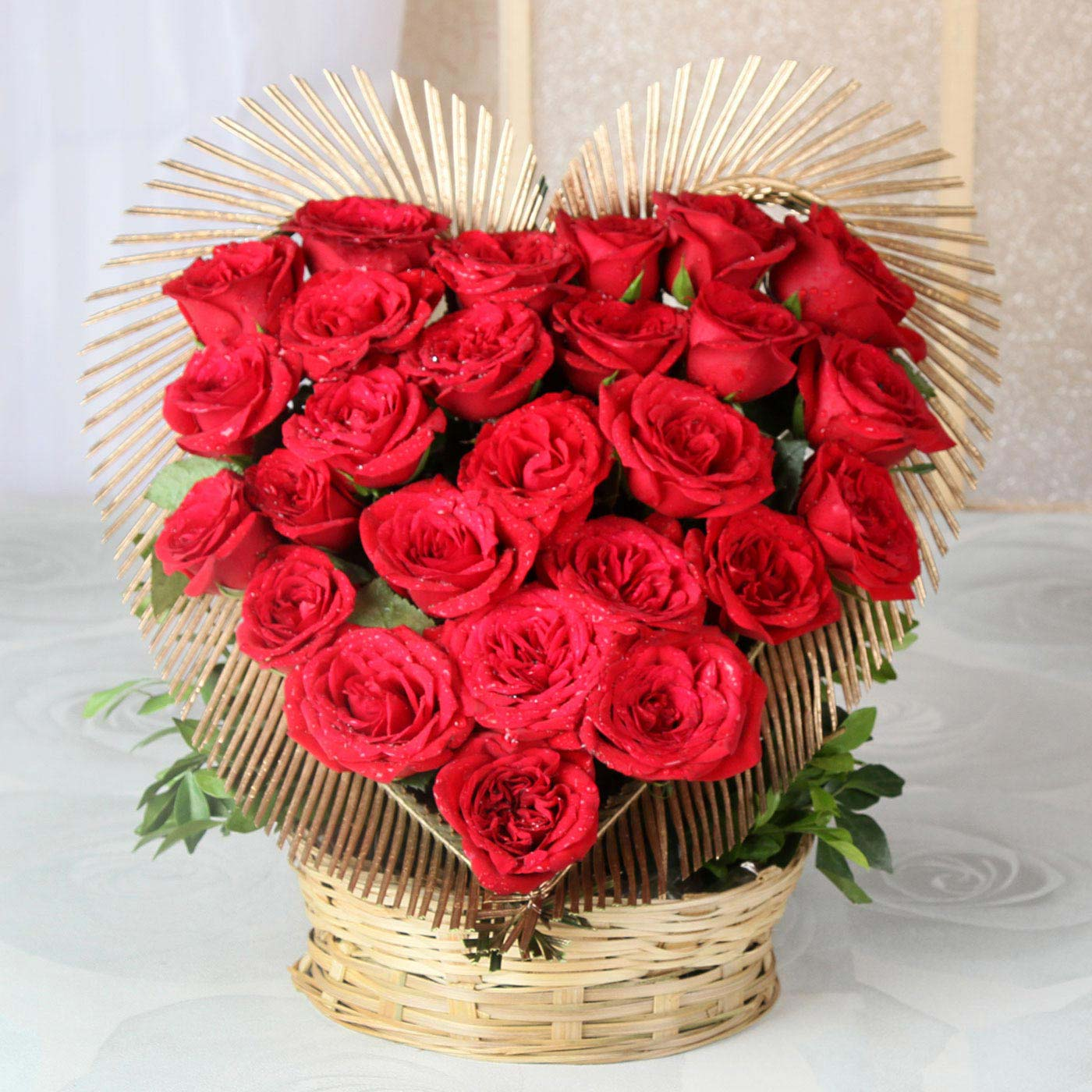 Heart Shaped Basket Of 25 Exotic Red Roses Yo Surprise